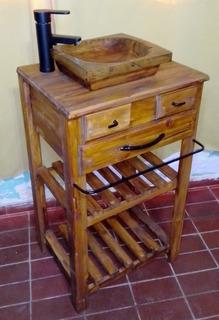 Vanitory Rústico: Mueble, Bacha, Grifería, Barral.