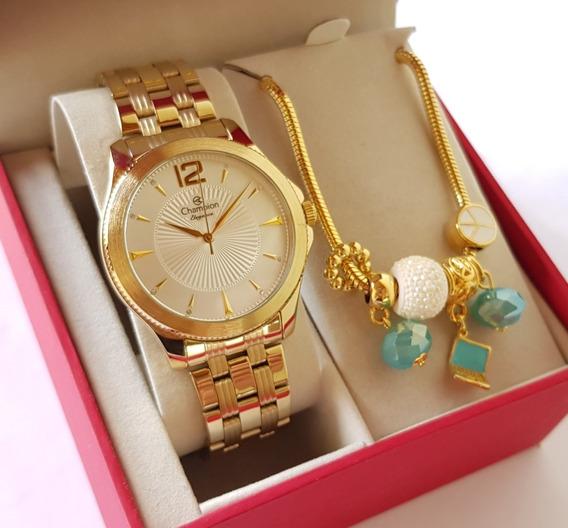 Relógio Champion Feminino Original Dourado Luxo + Pulseira