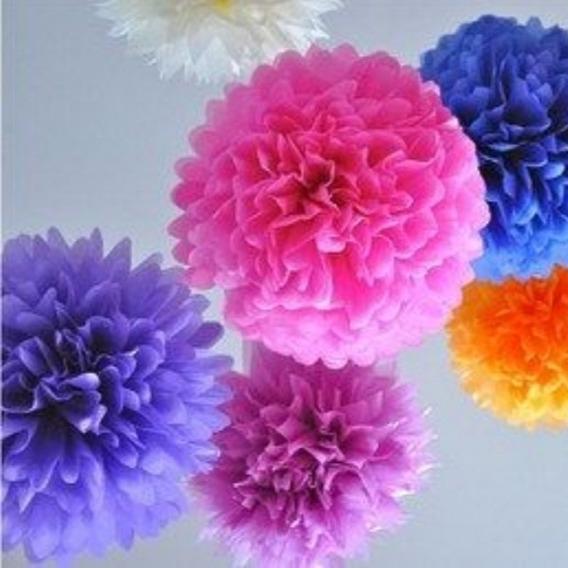 Pompones De Papel De Seda-flores De 35cm