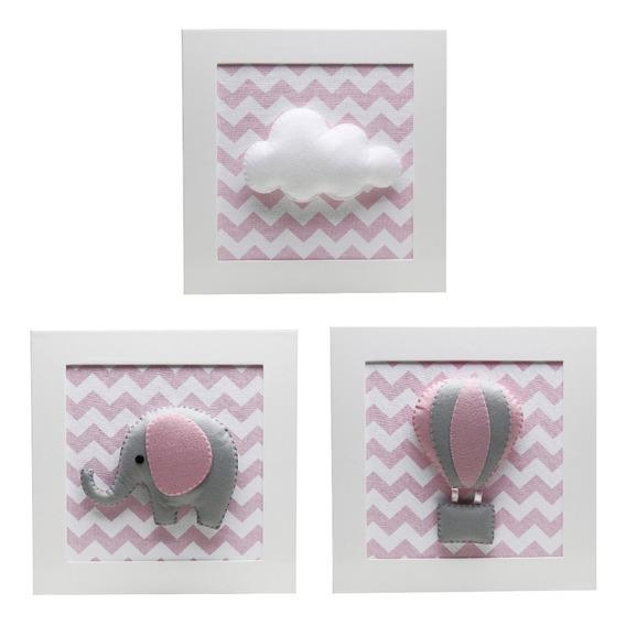 Quadrinhos Quadro Chevron Rosa Elefante Bebê Infantil Nuvem