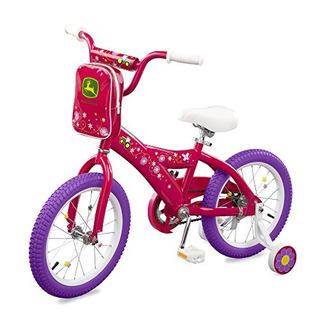 Bicicleta John Deere De 16 Para Niñas, Color Rosa Oscuro