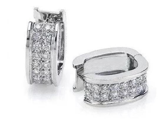 Brinco Argola De Ouro P18k + Diamantes Naturais