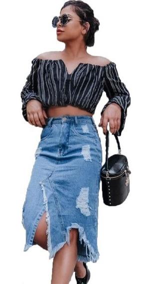 Saia Midi Jeans Destroyed 100% Algodão Moda Blogueira.