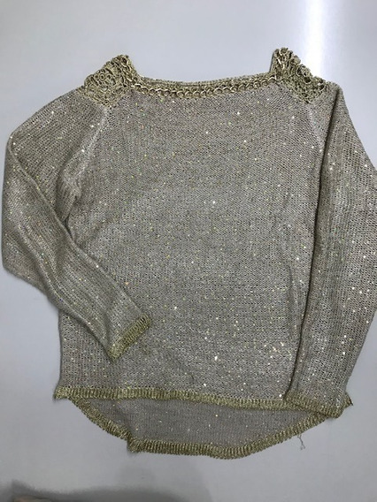 Sweater Dorado Con Detalle Hilo Y Cadena Talle S