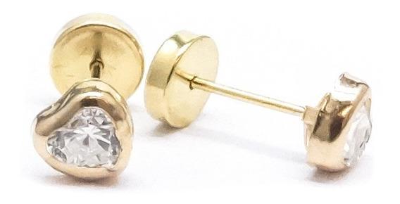 Par Aros Abridores Oro 18 K. Cristal Corazón Engarzada Garantia Escrita Estuche Ideal Niñas Mujer Stock El Trust Joyero