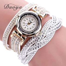 Relógio Feminino Bracelete Trançado Branco Pulseira Top