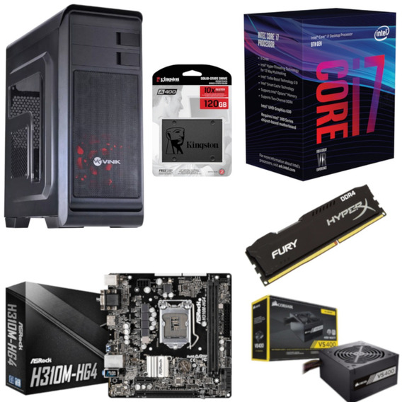 Pc Hunter Intel I7 8700 Mb H310m Hg4 Hx 8gb Vs400 Ssd 120gb