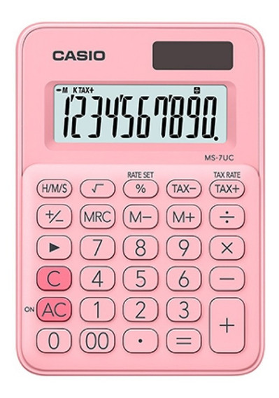 Calculadora De Mesa Casio 10 Dígitos Rosa - Ms-7uc-pk