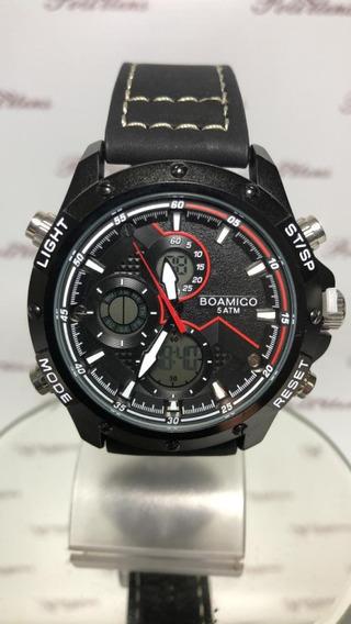 Relógio Masculino De Pulso Boamigo Luxo Pulseira Couro K4497