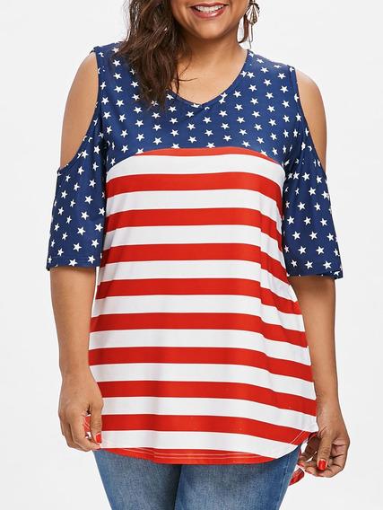 Más Tamaño Abierto Hombro Patriótico T -camisa