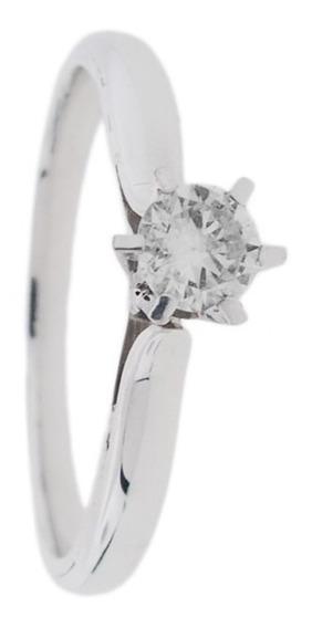 Anel De Noivado Em Ouro Branco 18k Com Diamantes