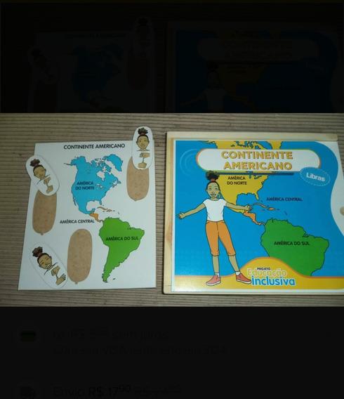 Jogo De Madeira: Continente Americano Em Libras