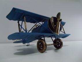 Avião Miniatura Retrô Azul Mono Hélice Lata Frete Grátis