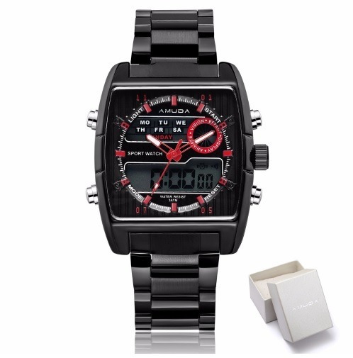 Relógio De Pulso Masculino Preto Amuda Luxo Barato Promoção