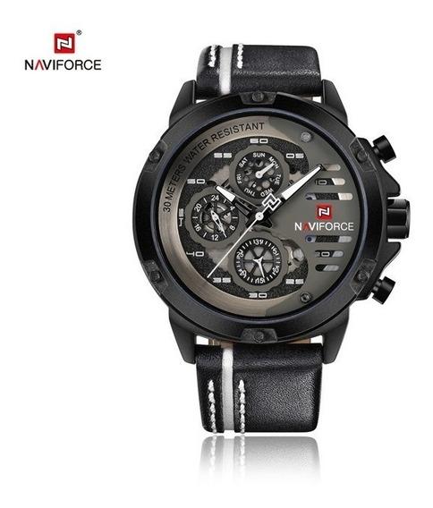 Relógio Masculino Pulseira De Couro Naviforce 9110