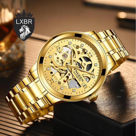 Relogio Dourado Fngeen Ouro Esqueleto Automatico R99b Lxbr