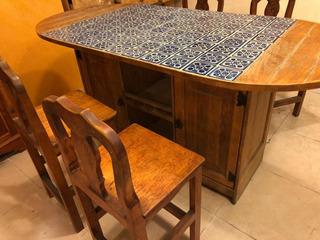 Comedor Mesa Madera + 4 Sillas | Natural Resistente Mosaico