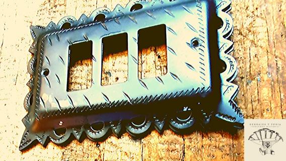 Tapas De Apagador Eléctricas Rústicas 3 Ventanas 10pzs D-28