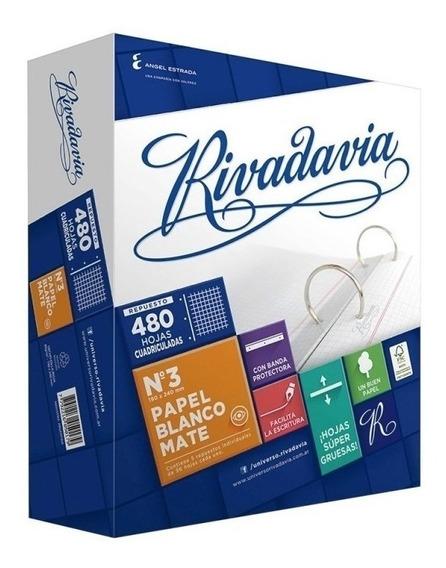 Repuesto Escolar Rivadavia X 480 Hojas Con Banda Protectora!