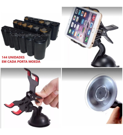 Kit 2 Peças Sendo 1 Suporte Gps + 1 Porta Moedas Com Molas