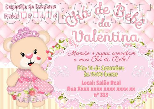 Arte Digital Convite Chá De Bebê Fraldas Ursinha Princesa