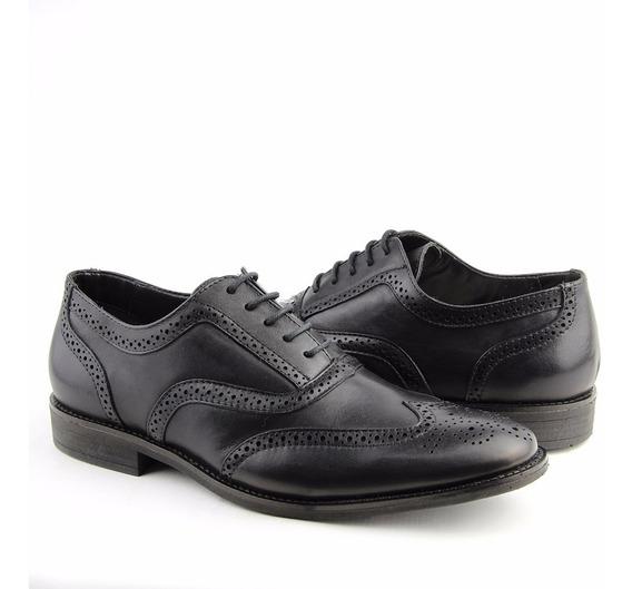 Sapato Casual Social Com Cadarço Couro Oxford Perlatto