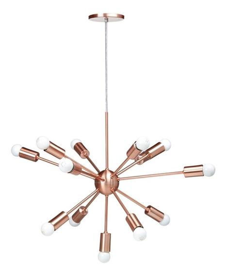 Lustre Pendente Moderno Sputnik Cobre Escovado 12 Lâmpadas