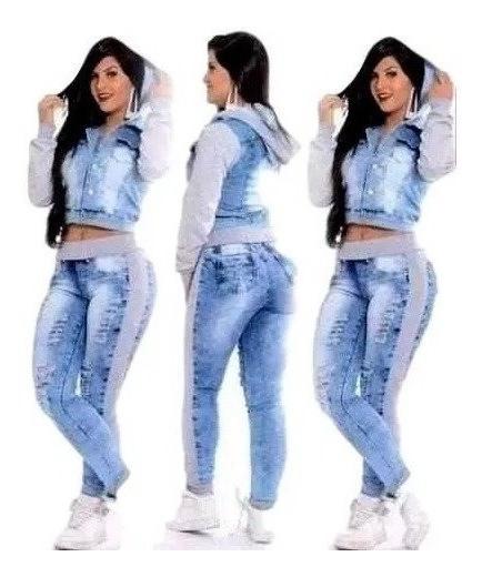 Conjunto Calça Jeans +jaqueta Jeans Com Moletom Capuz Top
