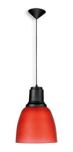 Imagen 1 de 1 de Lámpara Campana Roja Colgante De Policarbonato  1 Luz