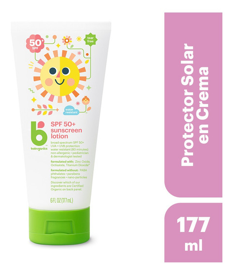 Babyganics Protector Solar En Crema, 177ml