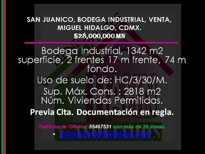 (crm-92-8722) San Juanico, Bodega Industrial, Venta, Miguel Hidalgo, Cdmx.