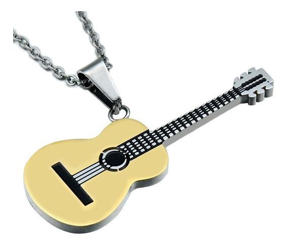 Hermoso Collar Acero De Titanio Inoxidable Guitarra Regalo Para Músicos