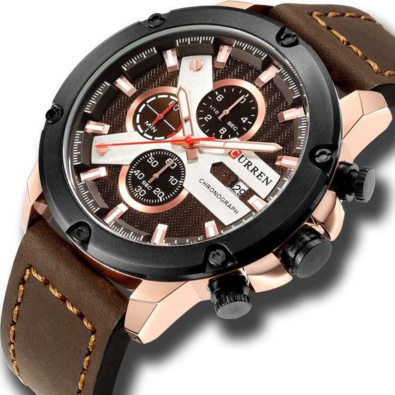 Relógio Curren 8308 Top Luxo Cronógrafo Aço Inoxidável