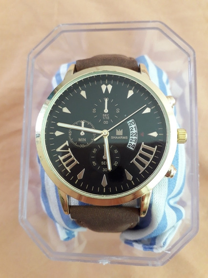 Relógio Shaarms Masculino + Caixa De Acrílico C Almofada