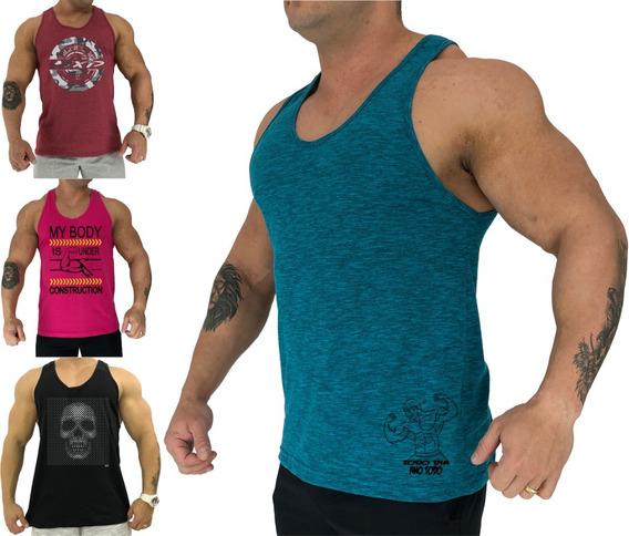 Kit 4 Regata Cavada Masculina Academia Estampada Camiseta