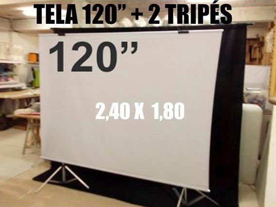 Tela 120 T Projeção Foto Casamento Retrospectiva Datashow