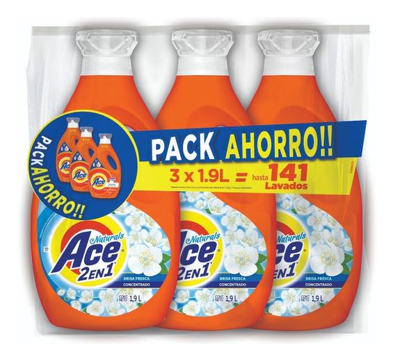 Pack 3 Botellas Detergente Ace Liquido Concentrado 1,9 Lt