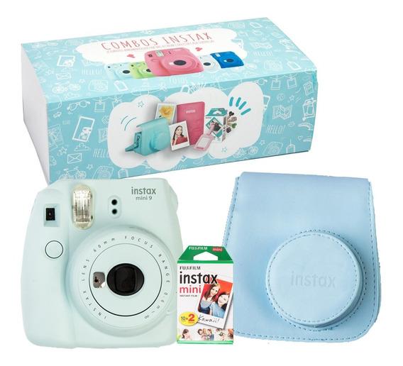 Caja Instax Mini 9 Celeste Hielo 20 Fotos Cartera Celeste