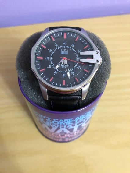 Relógio De Pulso Dumont Sc40403p Couro Preto Masculino