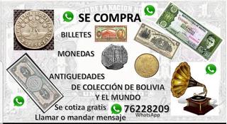 Se Compra Billetes Monedas Medallas De Coleccion Bolivia