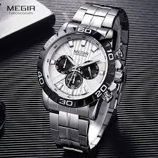 Relógio Masculino Megir Cronógrafo Em Aço Prata