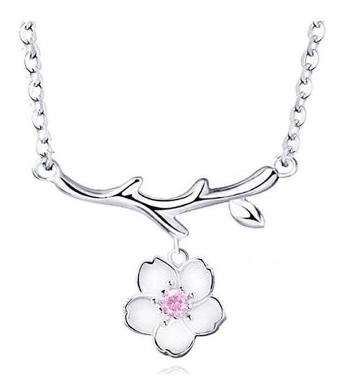 Collar Dije Acero Inoxidable Flor De Cerezo Japones Cute