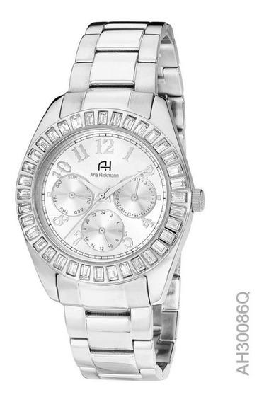 Relógio Pulso Anahickmann Ah30086 Prata Multifunção Feminino