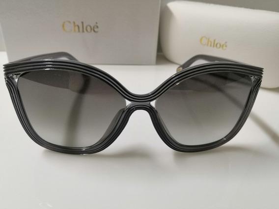 Óculos De Sol Chloé Ce737s Chumbo E Lentes Cinza Degradê