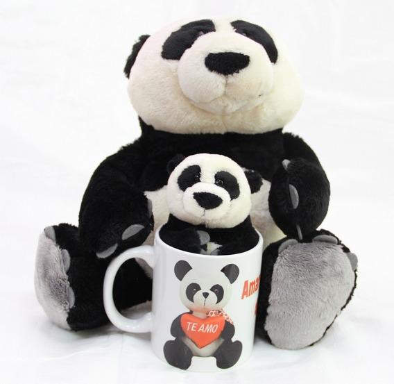 Urso Panda 35cm + 15cm Presente + Caneca Coração Namorada
