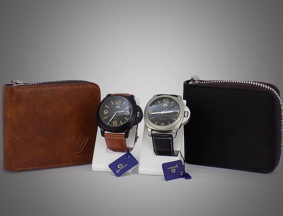 Kit 2 Relógios Masculino 100% Original Couro Grátis Carteira
