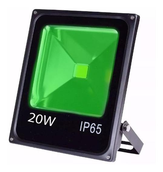 Refletor Led Holofote 20w Bivolt Verde A Prova Dágua Bivolt