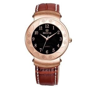 Relógio Unissex Skone Analógico Casual Marrom/dourado 9413g