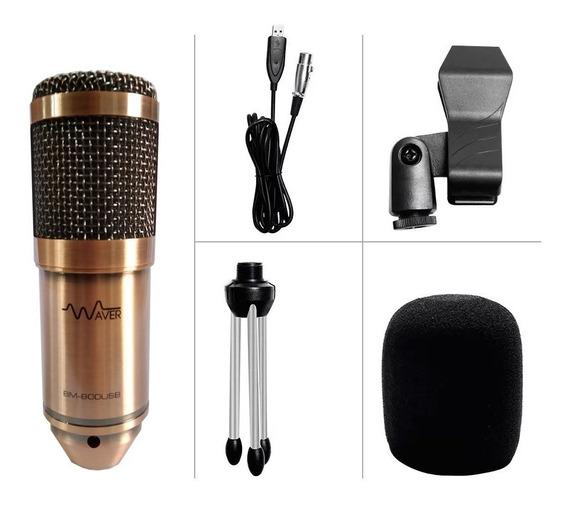 Microfone Condensador Bm-800 Waver + Tripé + Cabo Usb - Gold