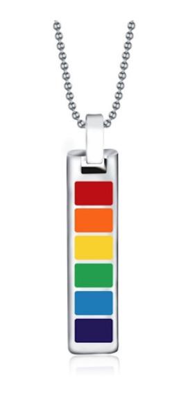 Collar Gay Con Dije Arcoiris Vertical Pride Acero Inox